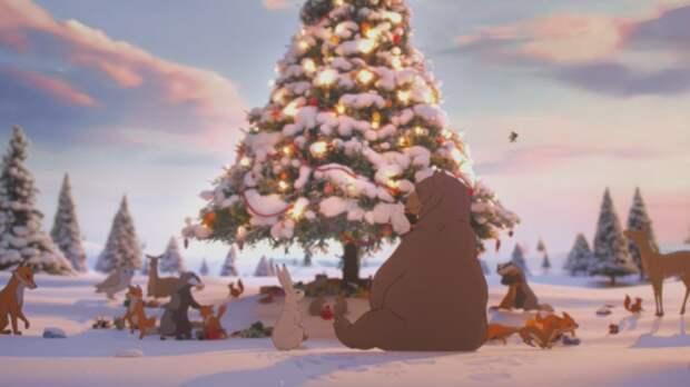 Медведь и заяц: трогательная рождественская реклама