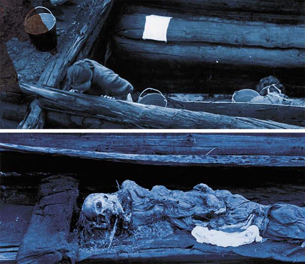 Погребальная камера с колодой, в которой лежала мумия женщины. Зеркало in situ и серьга из погребения. Курган 1, могильник Ак-Алаха-3. Музей ИАЭТ СО РАН