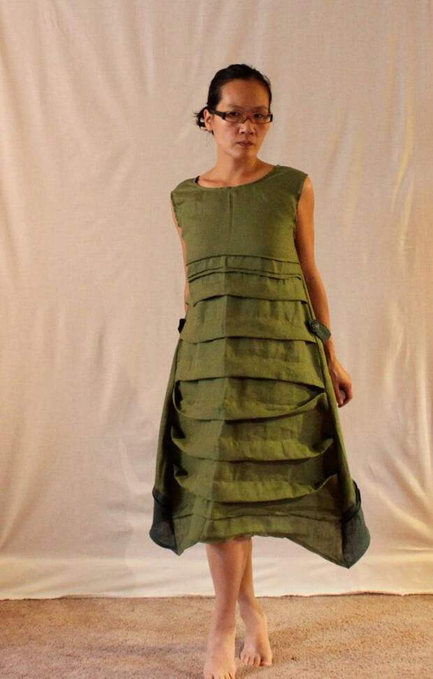 custom pleats belt deco reversible linen by annyschooecoclothing, $168.00