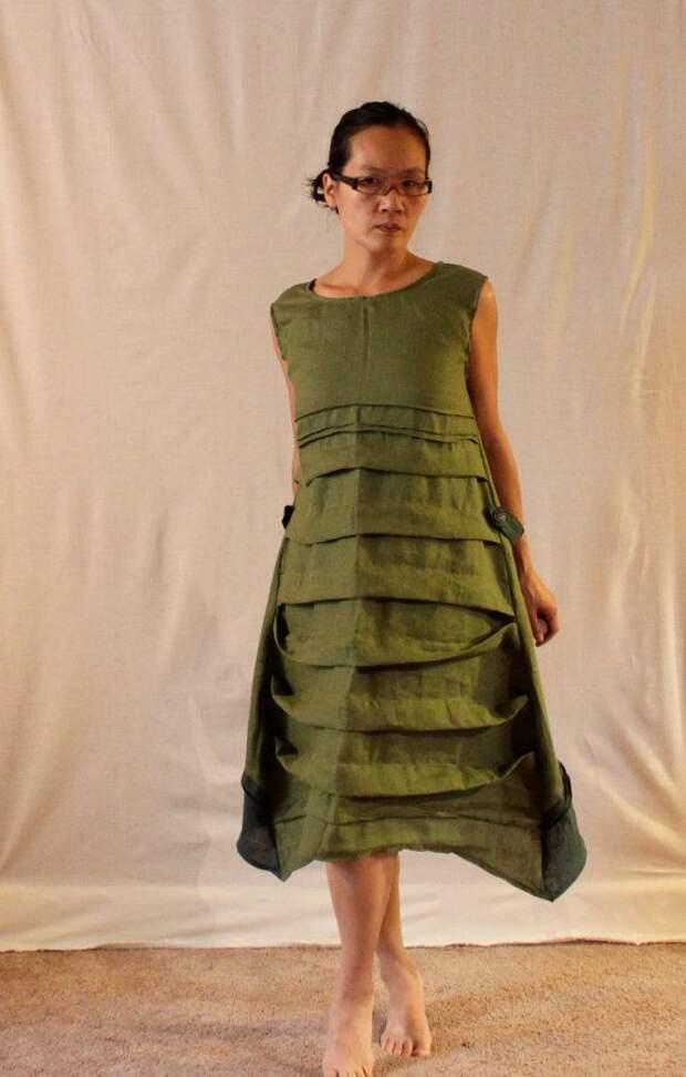 custom pleats belt deco reversible linen by annyschooecoclothing, $168.00