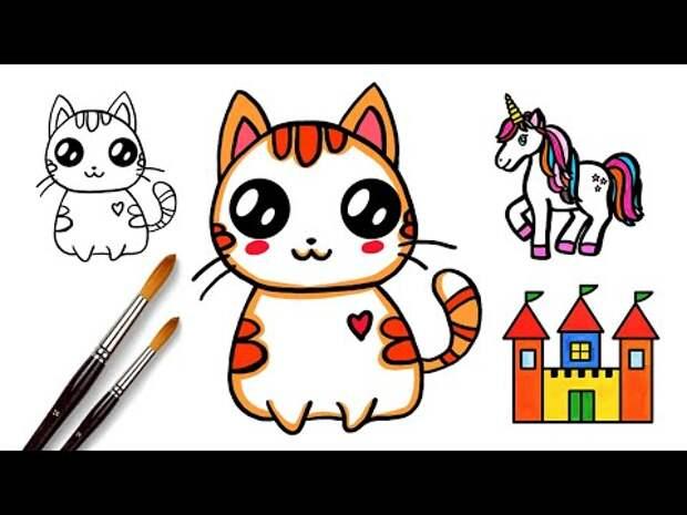 Как нарисовать Кавайного Котенка, Кота,  Котёнка, Кошку l Простые рисунк...