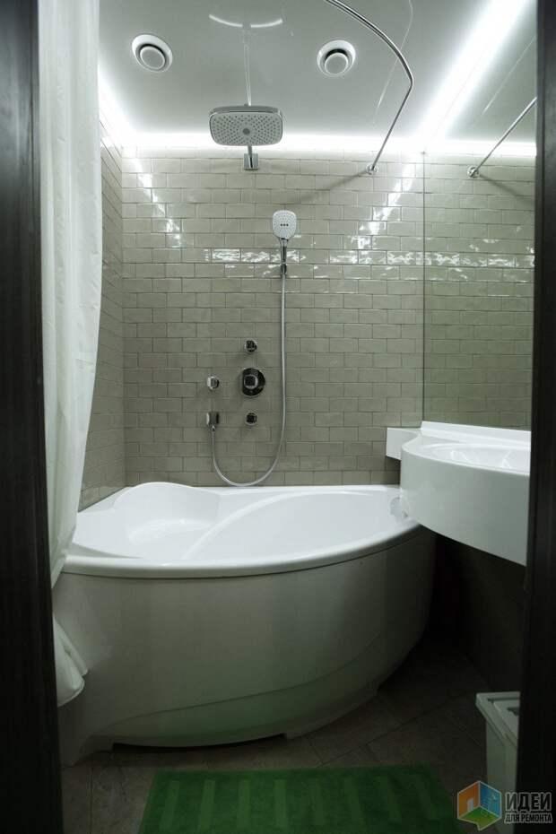 Интерьер ванной комнаты, маленькая ванная планировка, раковина над ванной
