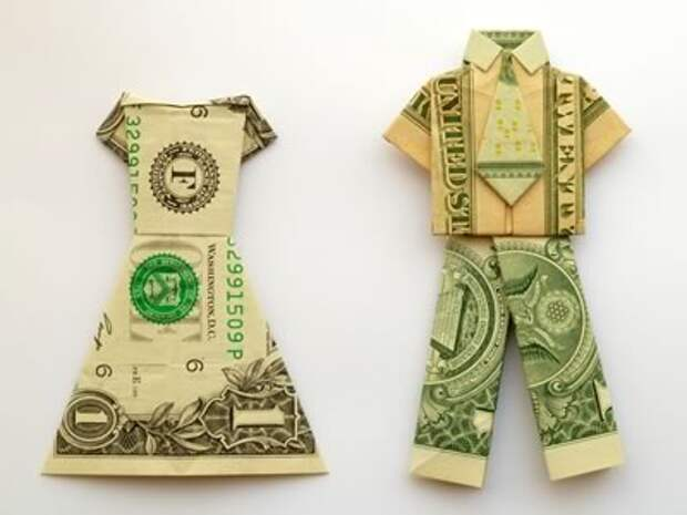 Оригами из денег - одежда