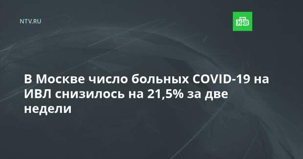 В Москве число больных COVID-19 на ИВЛ снизилось на 21,5% за две недели