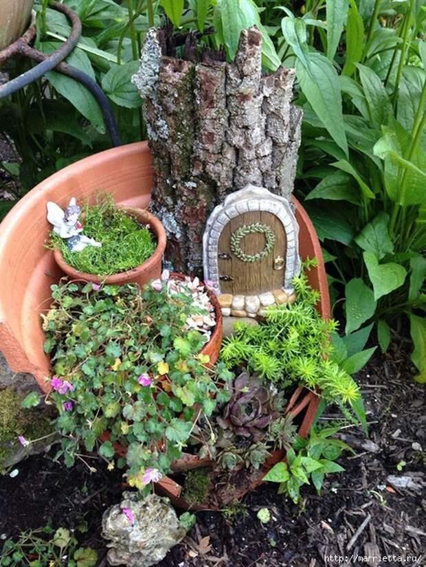 Миниатюрный сад из цветочного горшка. Идеи (6) (525x700, 419Kb)
