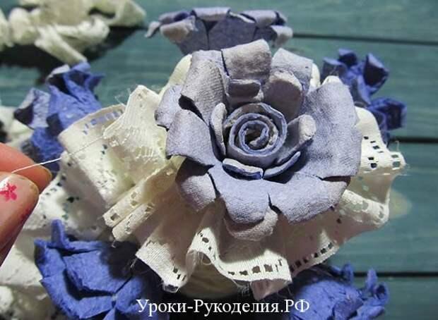 сделать цветы своими руками для топиария