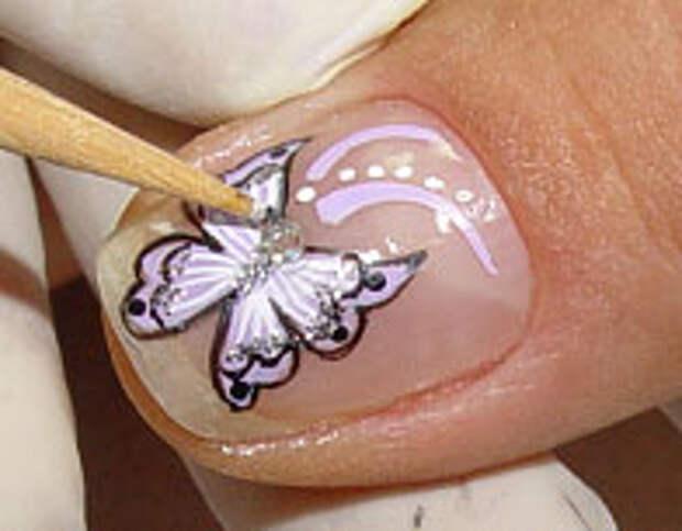 Как нарисовать бабочку на ногтях (19) (196x153, 29Kb)