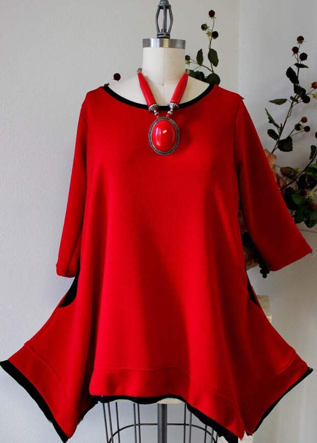 Designer, Plus size top Lagenlook, boho, Highend Tunic top in Red Color with matching scarf. $59.00, via Etsy.