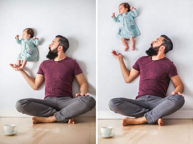 Забавные фотографии игры папы с дочерью  дочь, папа, фото