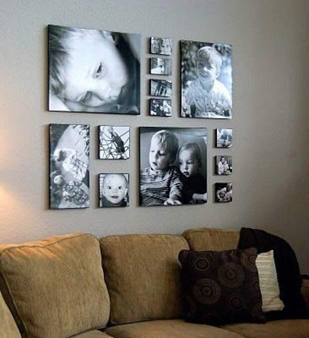 Вариант развески фото детей