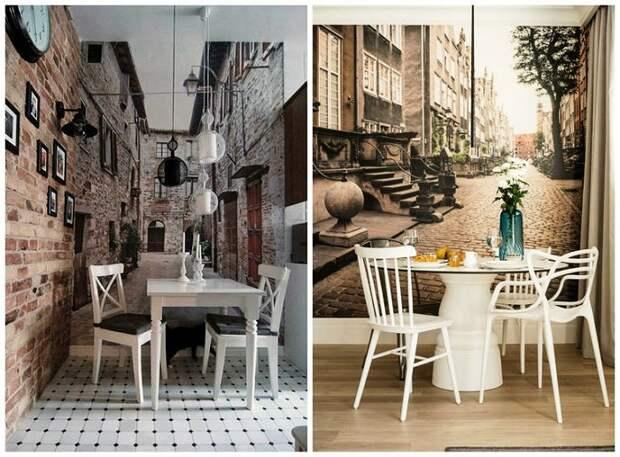 Фотообои смогут зрительно увеличить маленькую площадь кухни.