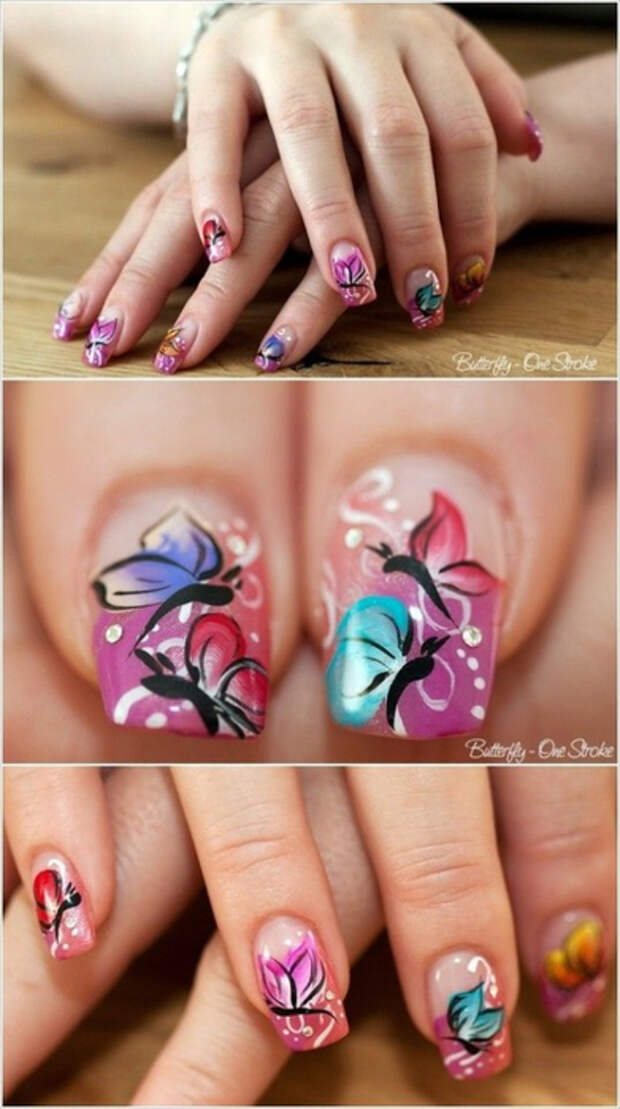 Как нарисовать бабочку на ногтях (36) (391x700, 275Kb)