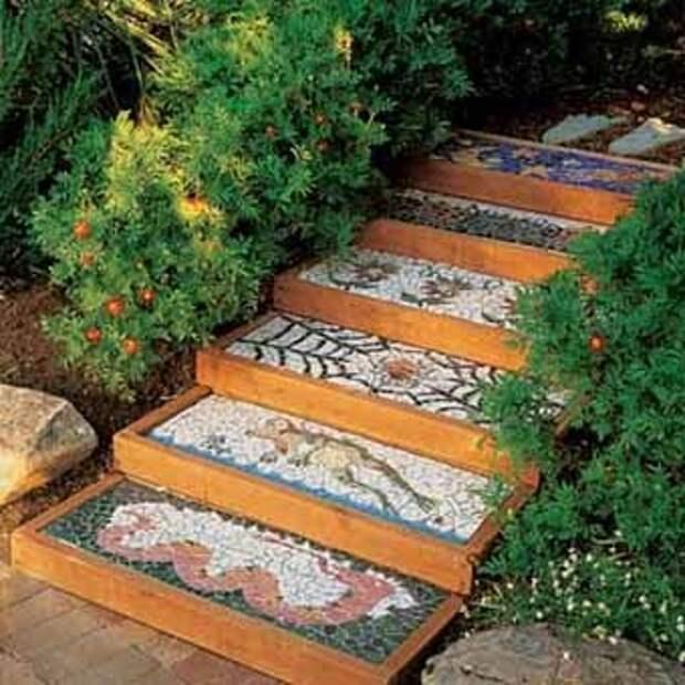 мозаика из плитки для садовой дорожки