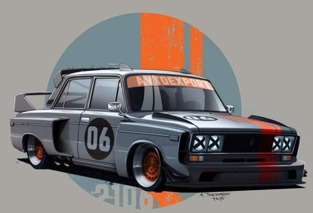 6. Гоночный ВАЗ-2106 СССР, авто, арт-картина, прототип, художник