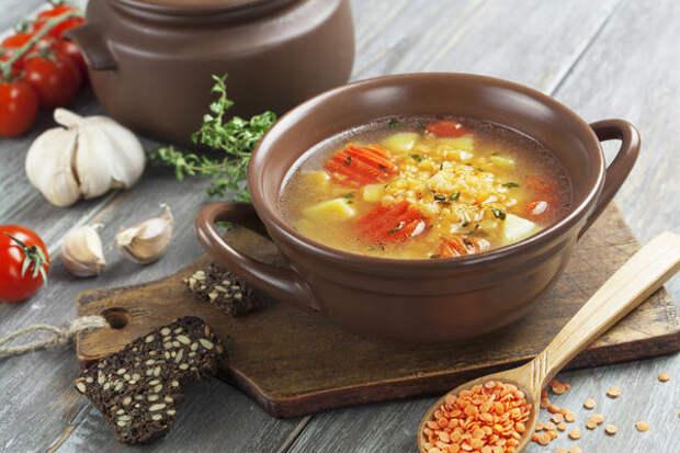 Чечевичный суп с овощами