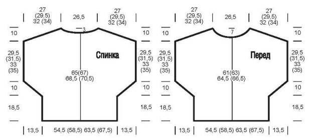 Вязание спицами. Выкройка женской безрукавки-пулундера для полных женщин. Большие размеры: 42/44 (46/48-50/52) 54/56