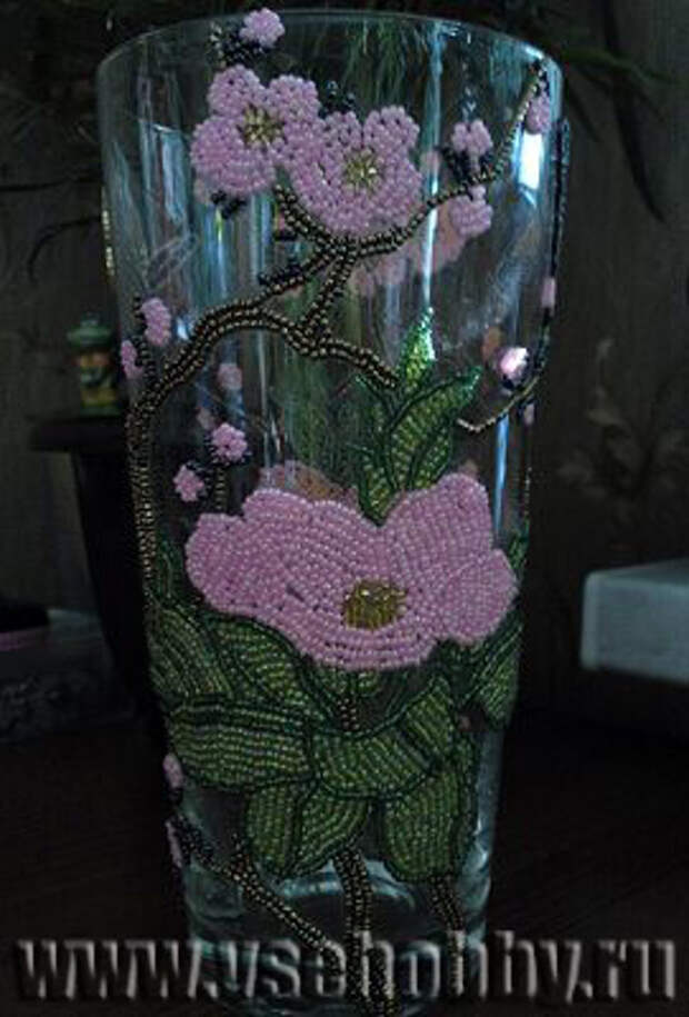 декор вазы бисером цветы