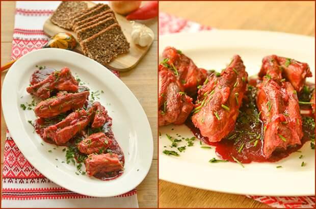 Мясо со свеклой