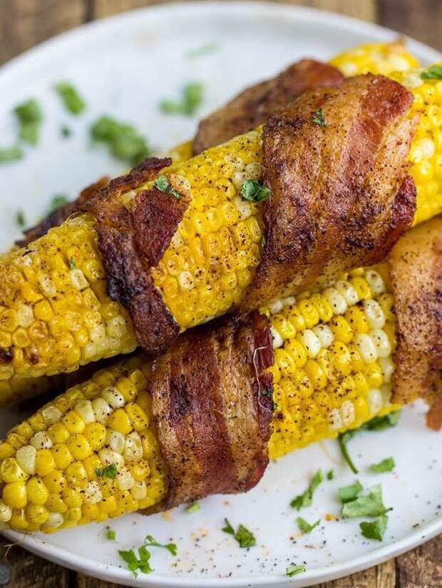 Кукуруза на гриле с беконом и сыром вкусно, кукуруза, рецепт