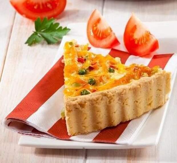 Овощной пирог с ветчиной