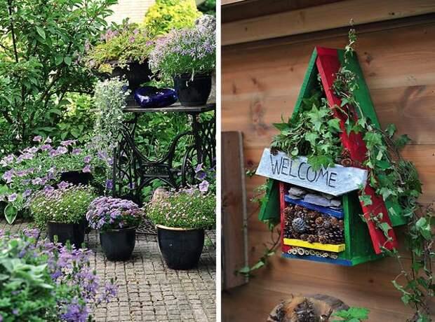 Слева: садовый секонд-хэнд. Справа: домик для насекомых