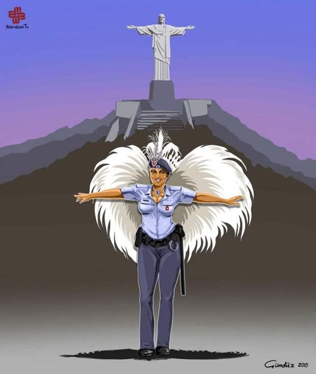 Азербайджанский художник изобразил истинное лицо полиции по всему миру в сатирических иллюстрациях