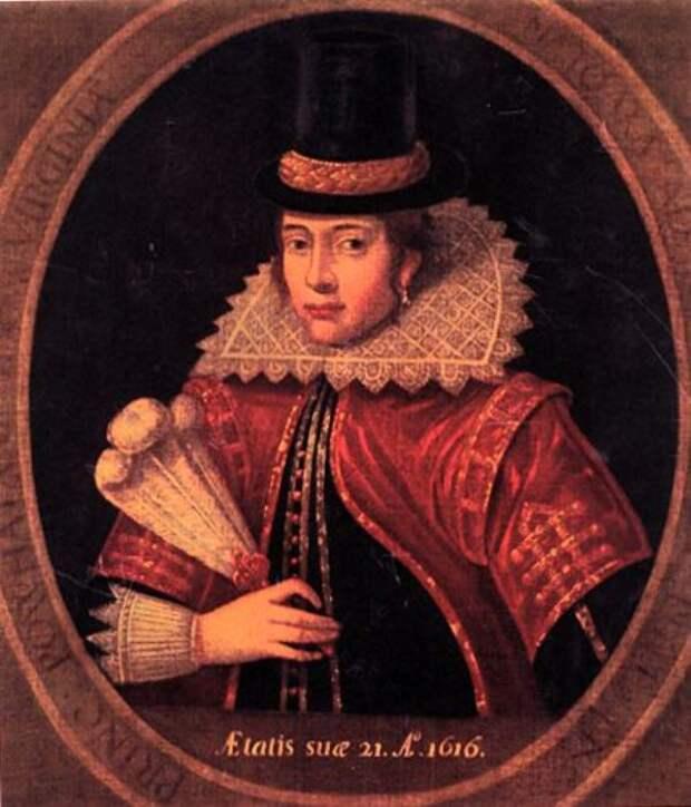 Портрет Покахонтас, написанный с гравюры