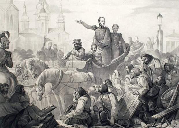 Николай I усмиряет холерный бунт в Санкт-Петербурге в 1831 г./Фото: media