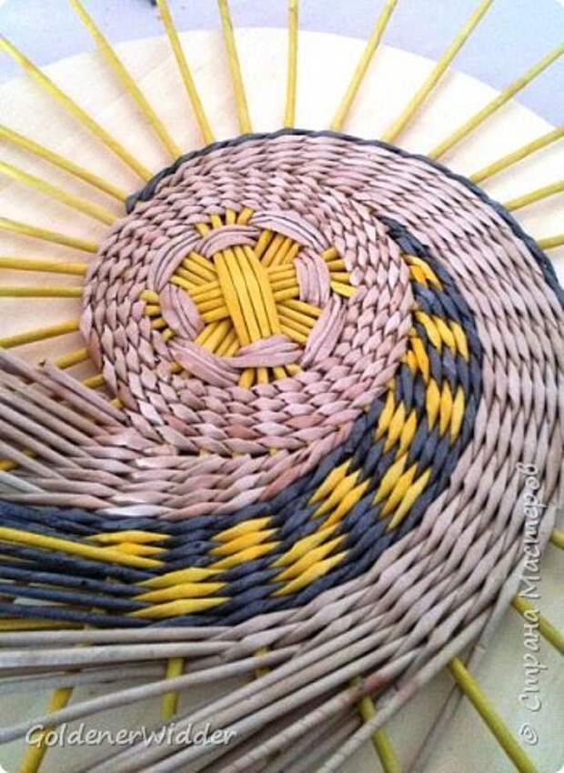 Мастер-класс Плетение Панно 40 см Спиральное плетение Бумага газетная Трубочки бумажные фото 39