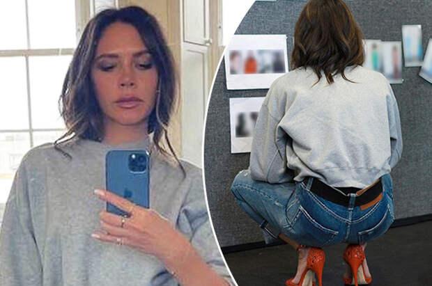К новому сезону готова: Виктория Бекхэм позирует в джинсах из своей коллекции и красных туфлях на шпильке