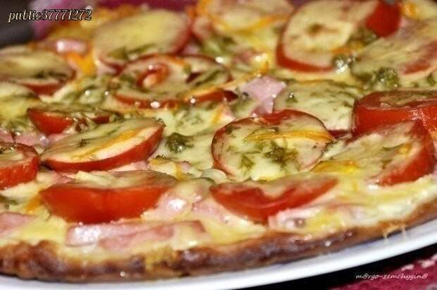 Пицца на сковороде за несколько минут .