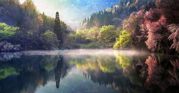 Великолепные отражения пейзажей в озерах и реках Южной Кореи