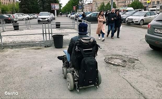 Челябинские активисты огородили тротуар для пешеходов на парковке в мире, добро, люди, поступок, своими руками, тротуар, челябинск
