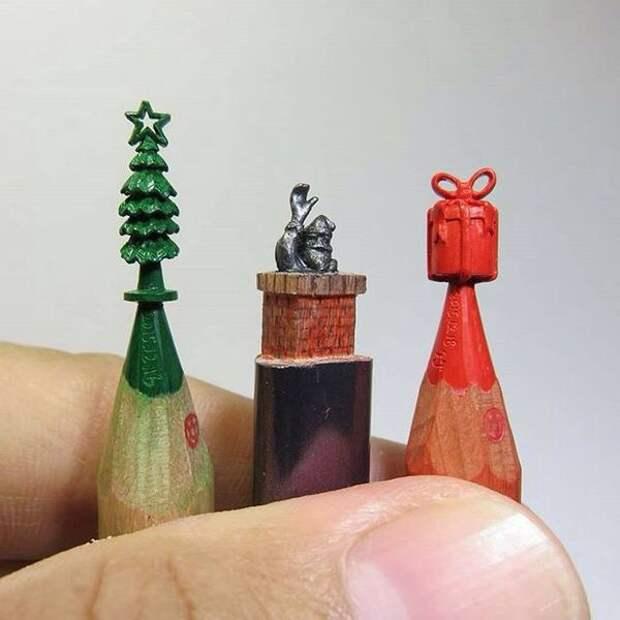 Рождественская резьба по карандашам