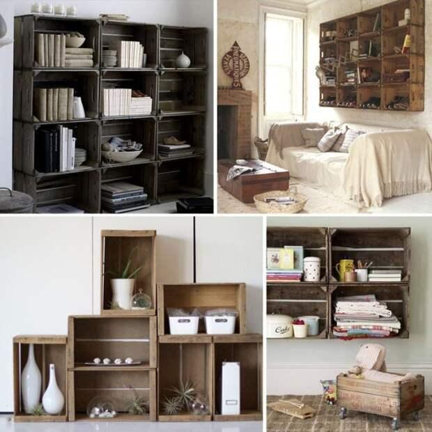 Варианты мебели из ящиков. \ Фото: pinterest.ca.