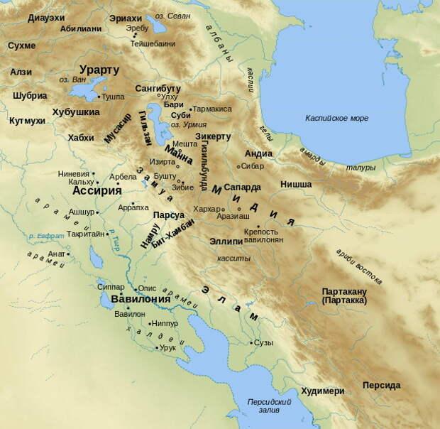 Карта Ассирии, Элама, Вавилонии, Мидии, Урарту и прилегающих государств