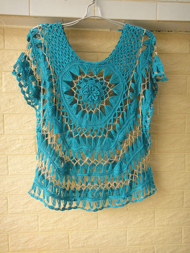 Handmade Hairpin Crochet Tops Floral Womens Sheer Blouse Bat Wings