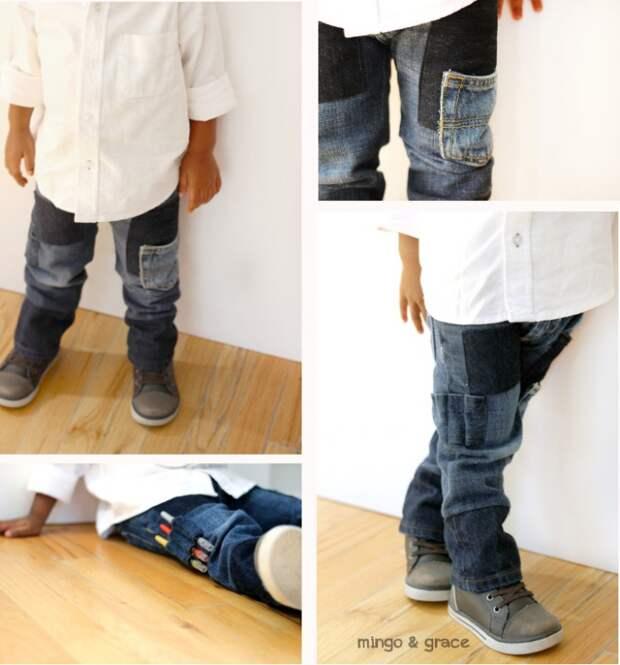 Остроумная переделка джинсов под ребенка (Diy)