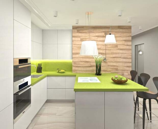Дизайн-интерьера квартиры-студии, зона кухни в студии, яркий современный интерьер