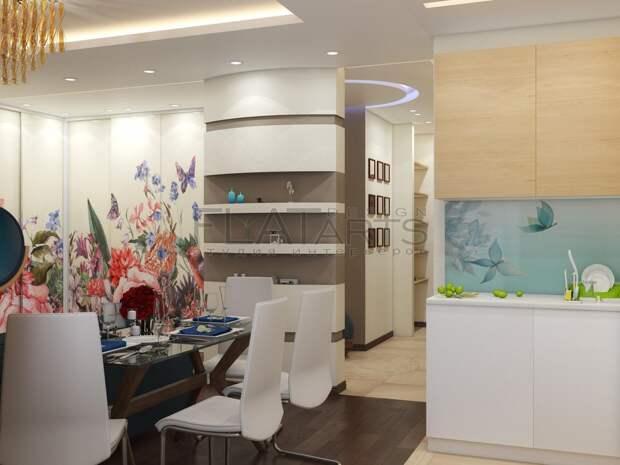 Дизайн-проект двухкомнатной квартиры, интерьер кухни-гостиной