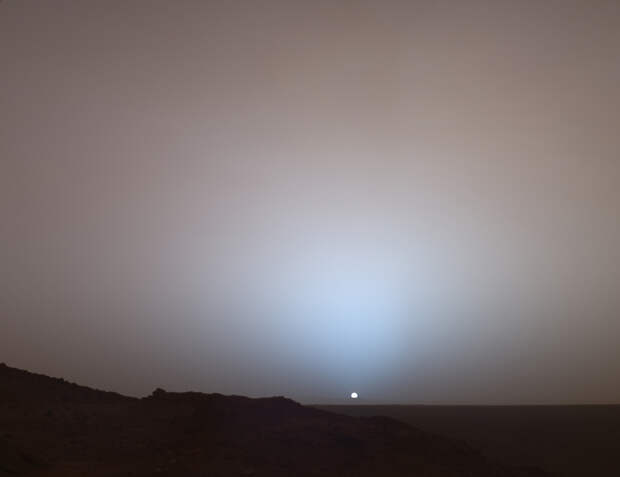 Закаты на Марсе синего цвета. (NASA's Mars Exploration Rover)