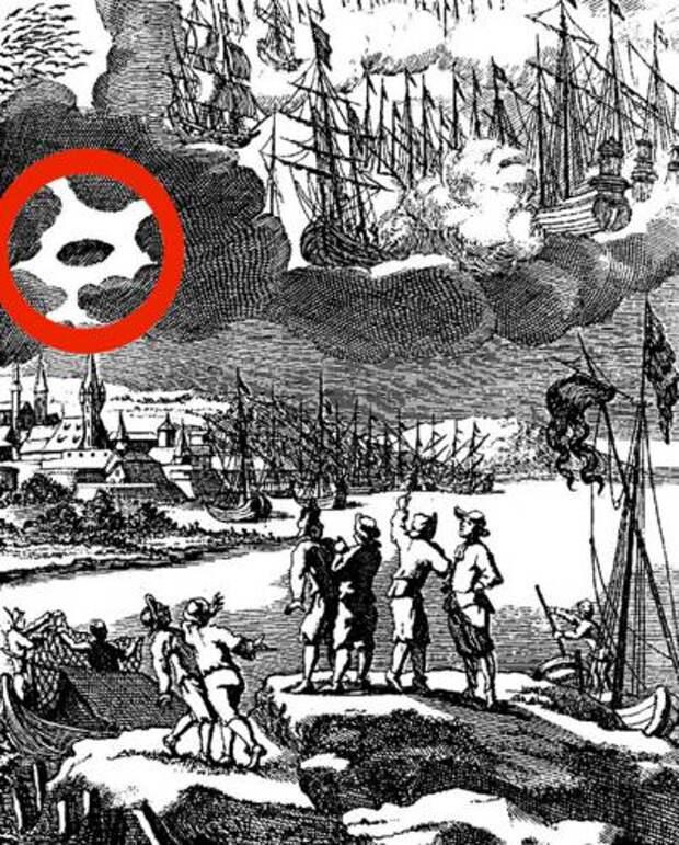 """Гравюра из книги Эразма Франциски (1627-1694), описавшего """"знамение"""" в 1689 году. НЛО обведен красным уже в наши дни"""