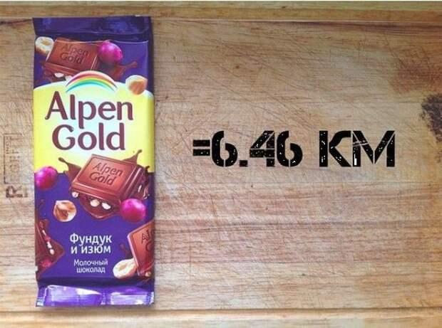 Плитка шоколадки Alpen Gold (90грамм) бег, еда, каллории
