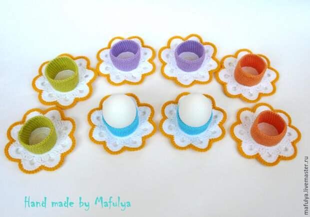 Декоративные подставки для пасхальных яиц крючком | Ярмарка Мастеров - ручная работа, handmade