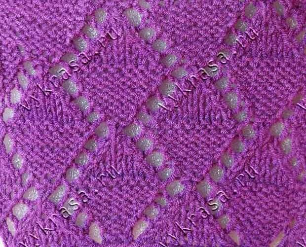 Фото вязаного узора для летних моделей: ажурные ромбы