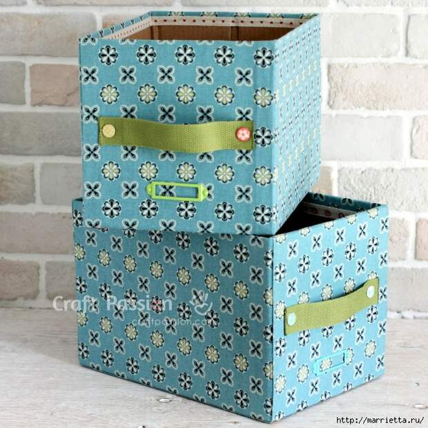 Ящики для хранения из картонных коробок (1) (588x588, 285Kb)