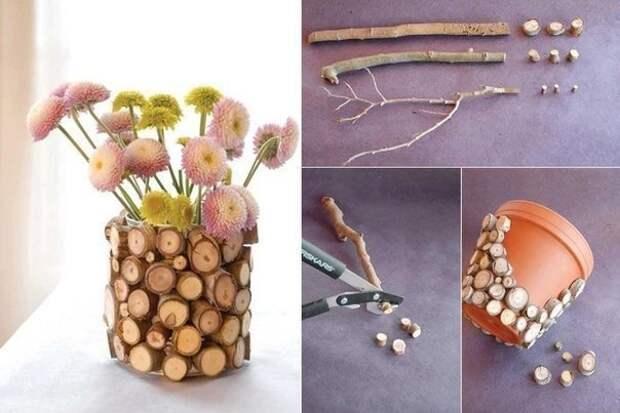 Оригинальная деревянная ваза