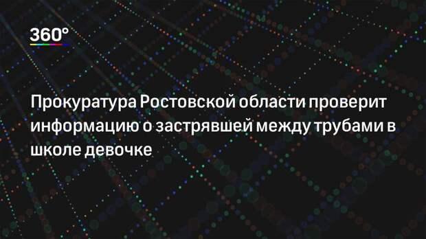 Прокуратура Ростовской области проверит информацию о застрявшей между трубами в школе девочке