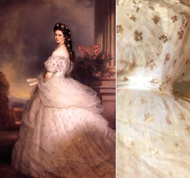 Белый шёлковый чехол и усыпанный сияющими звёздами тюль поверх него – если это платье и вправду создал Ворт, то среди его работ бывали и куда более сложные, роскошные, эффектные. Но если упомянутое уже платье принцессы Эдвиги напоминает бальный наряд Золушки, то это платье явно могло принадлежать фее-крёстной. Многие поклонницы прекрасной и печальной императрицы мечтают о таком же, вот только повторить волшебство ничуть не легче, чем превратить тыкву в карету...