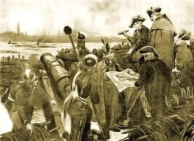 Суворов и Кутузов перед штурмом Измаила в 1790 году. С картины художника О. Г. Верейского, 1950 год.jpg